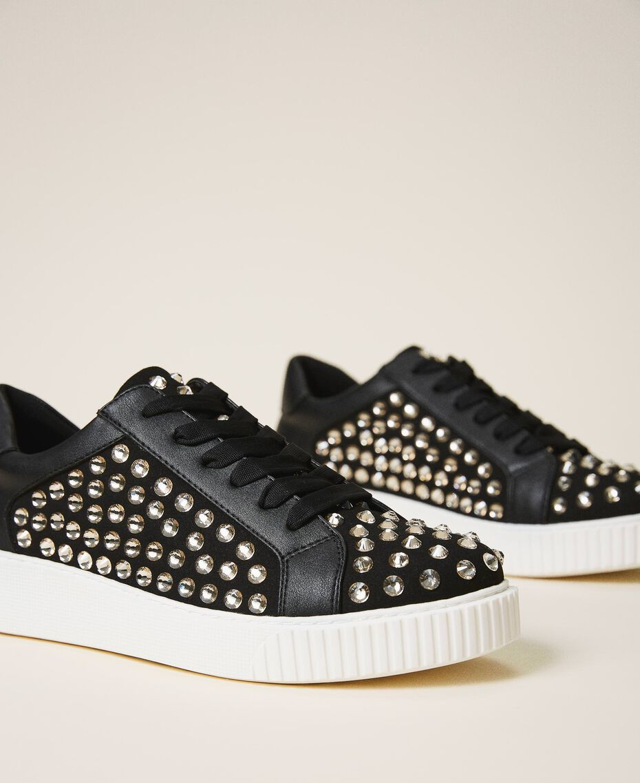 "Suede trainers with rhinestones Two-tone Black / ""Anthracite"" Grey Woman 202MCP012-01"