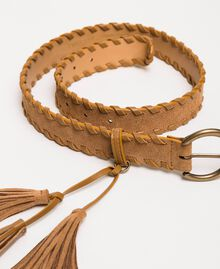 Suede belt with tassels Leather Brown Woman 201TO5343-02