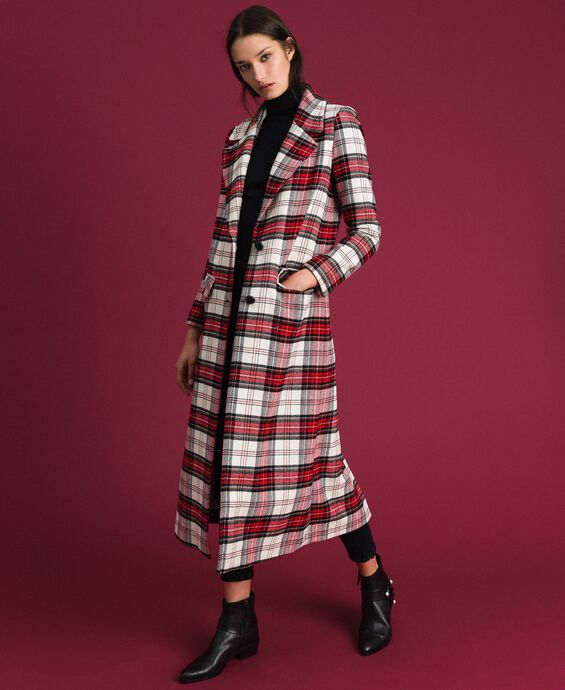 Long coat in chequered wool