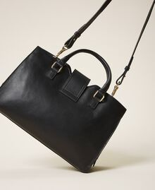 Smooth leather and suede shopper Black Woman 202TB7283-04