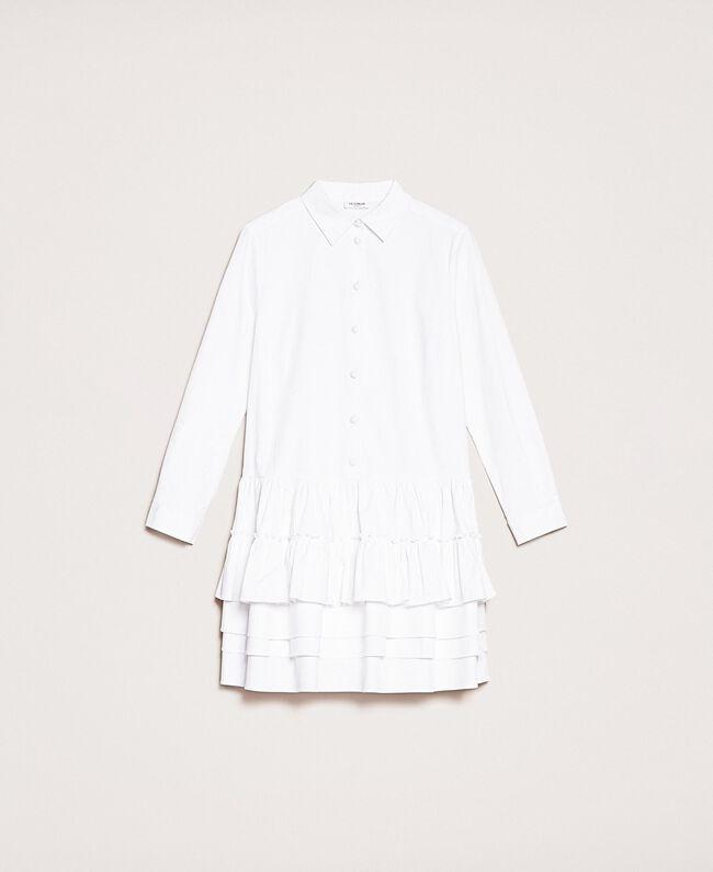 Поплиновое платье-рубашка с оборками Белый женщина 201ST2020-0S