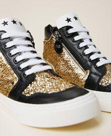 Sneakers de piel con lentejuelas Multicolor Oro Niño 212GCJ044-04