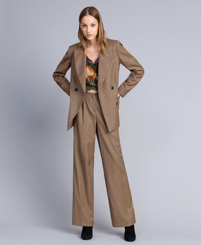 "Double-breasted wool blend jacket ""Burnt"" Orange Small Check Jacquard Woman TA821U-0T"
