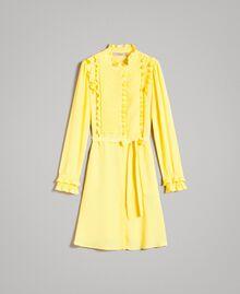 Robe chemisier en soie mélangée avec volants Jaune Femme 191TP2137-0S