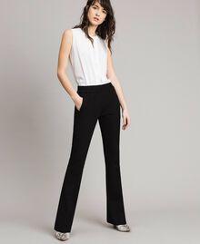 Pantalon évasé au point de Milan Noir Femme 191TP2423-01