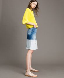 Cardigan top with poplin details Yellow Lemon Woman 191ST3060-03