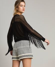 Mesh and lace stitch fringed jumper Black Woman 191TT3063-03