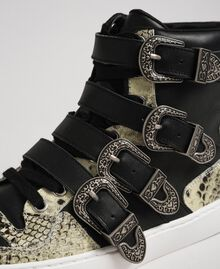 High top trainers with straps and animal print inlays Black Woman 192TCT080-04