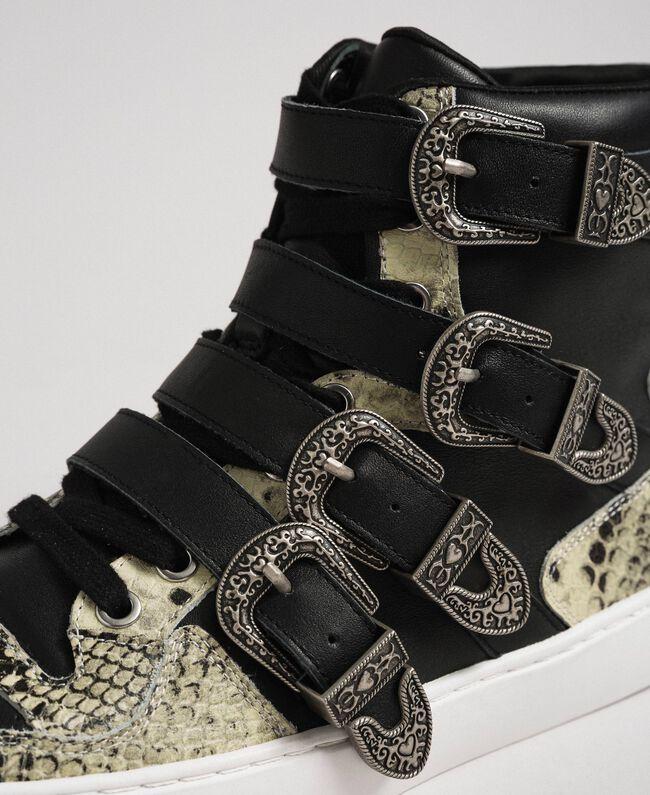 Sneakers alte con cinturini e inserti animalier Nero Donna 192TCT080-04