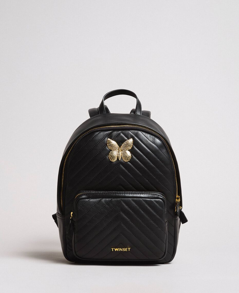 Matelassé leather backpack Black Woman 191TA7192-02