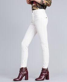 Pantalon skinny en gabardine stretch Nacre Femme JA82W1-02