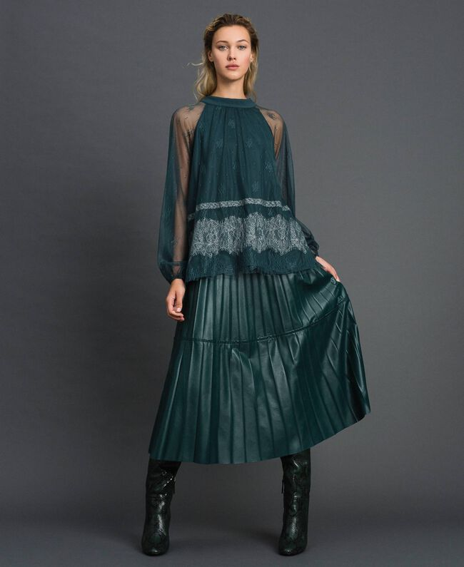 Блуза из кружева шантильи Зеленый Лес / Бело-кремовый женщина 192ST2112-01