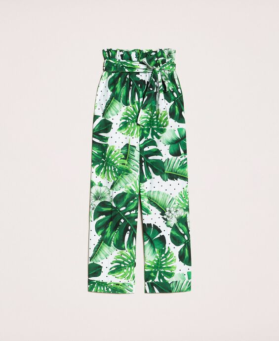 Printed poplin high waist trousers
