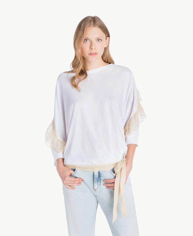 Flounced maxi T-shirt White Woman PS82T2-01