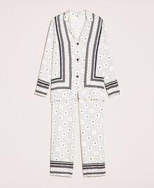 "Satin pyjamas with logo print Two-tone ""Peachskin"" Pink / Black Woman 201LL28AA-0S"