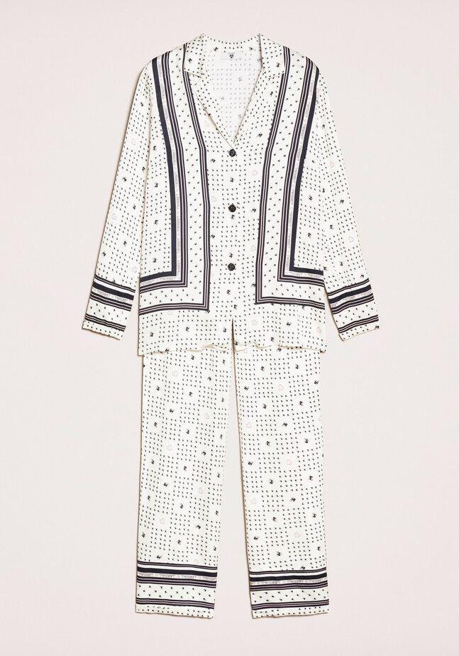 Satin pyjamas with logo print