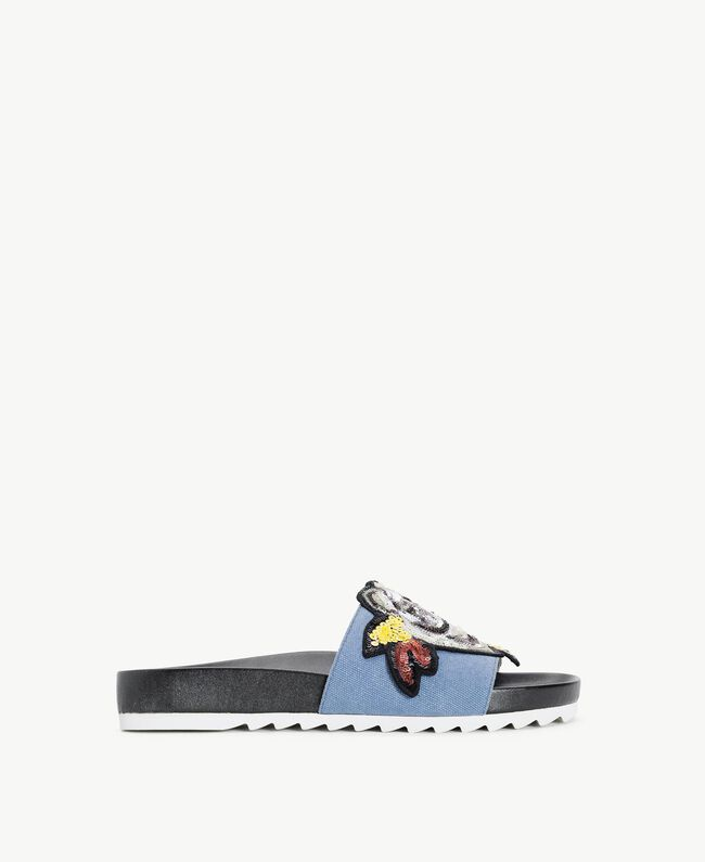 TWINSET Patch slippers Ocean Blue Woman DS8PDL-01