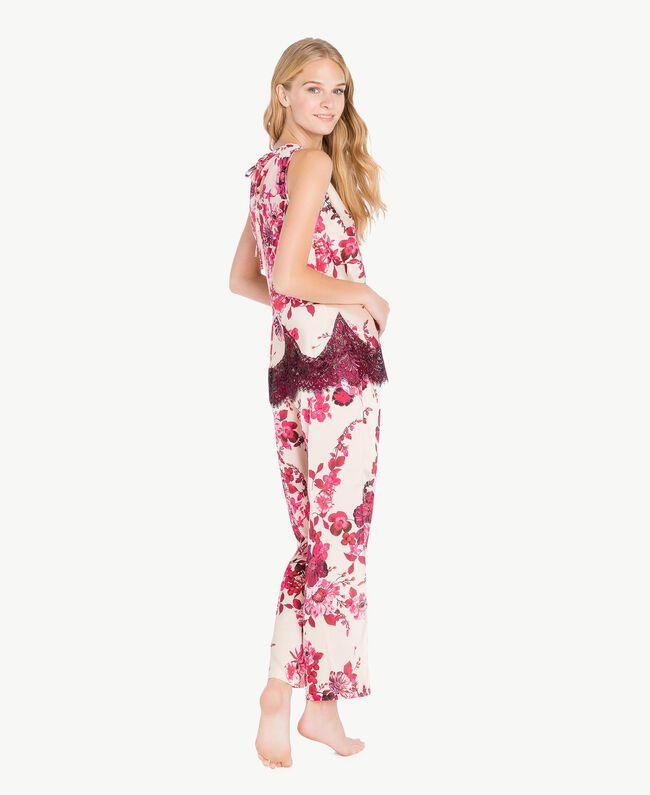 "Pantalon grandes fleurs Imprimé Fleurs Fuchsia ""Loves Bites"" IA7KAA-04"