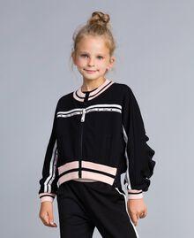 Sweat en tissu technique avec logo Bicolore Noir / Rose «Blush» Enfant GA82PN-0S
