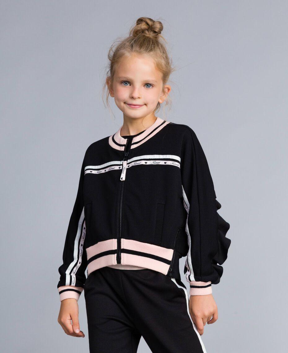 "Technical fabric sweatshirt with logo Bicolour Black / ""Blush"" Pink Child GA82PN-0S"