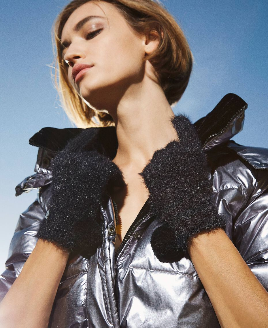 Mottled knit gloves Black Woman 202LI4ZTT-0S