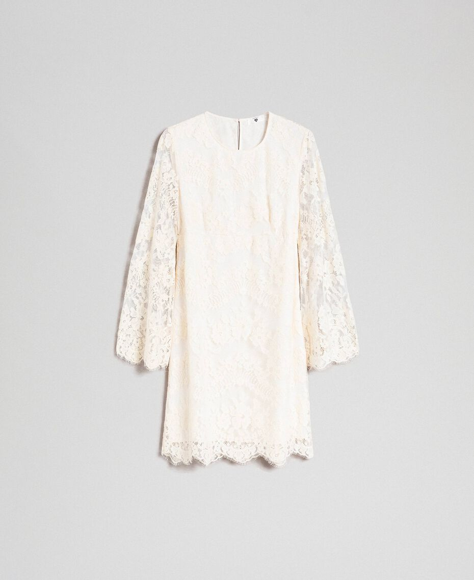 Short lace dress Cream Woman 192LI21EE-0S