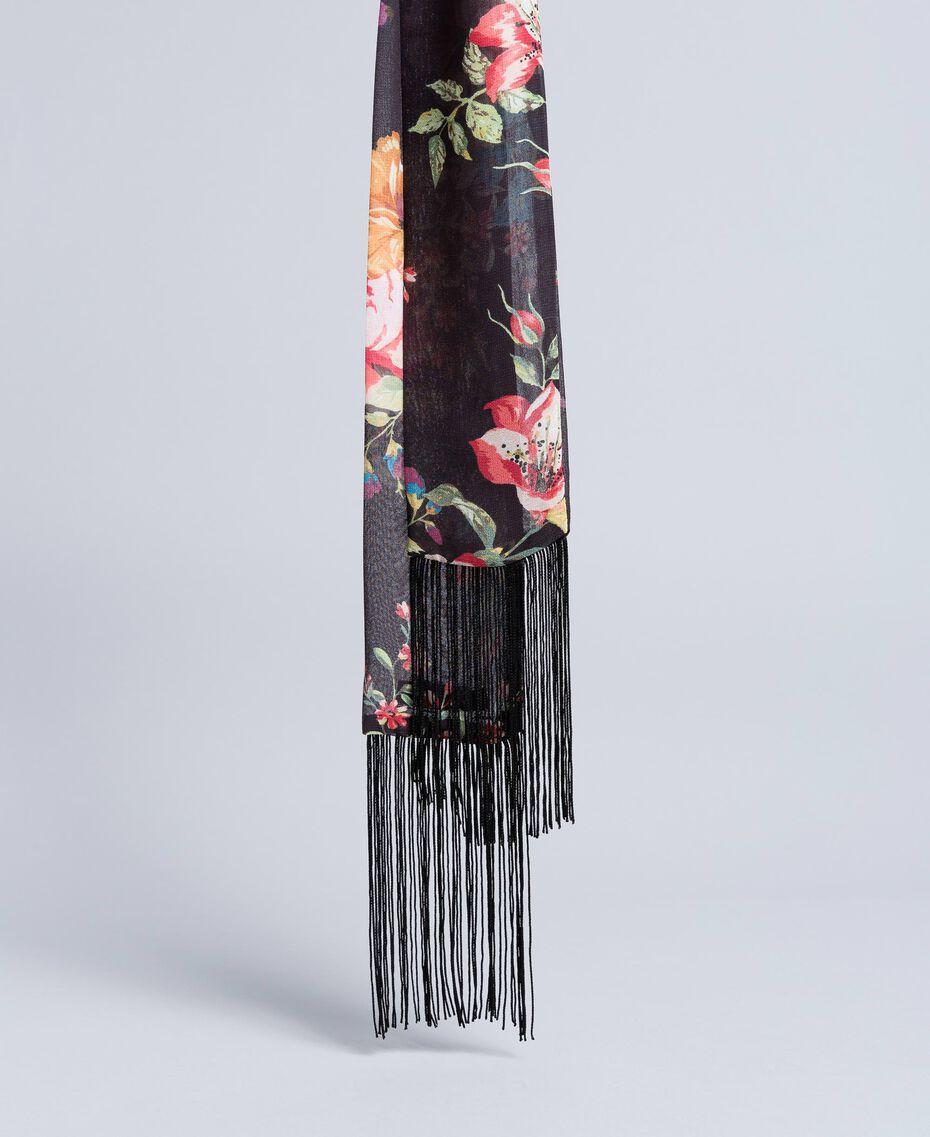 """Foulard aus Viskose mit Blumenprint Print """"Rosen und Lilien"""" Frau AA8P16-01"""