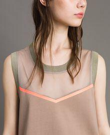 "Top with mesh insert ""Grey Dust"" Woman 191LL23UU-04"