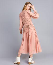 Robe longue en crêpe georgette avec broderie Rose Pâle Femme TA826A-03