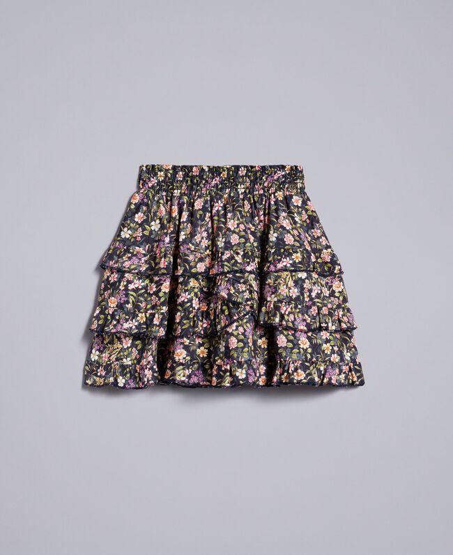 Printed viscose full skirt Micro Flower Print Child GA82TA-01