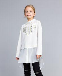 Maxi Milan stitch and georgette sweatshirt Off White Child GA82FU-0S