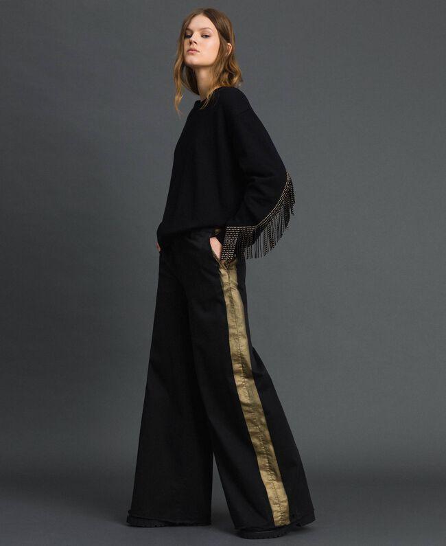 Wide-Leg-Hose mit Seitenstreifen Zweifarbig Schwarz / Gold Frau 192MP2410-03
