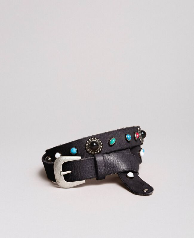 Studded leather belt Black Woman 191TO5335-01