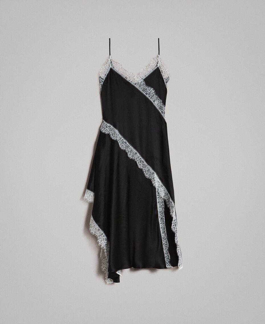 "Silk blend long dress with lace Bicolour Black / ""Snow"" White Woman 191TT2091-0S"
