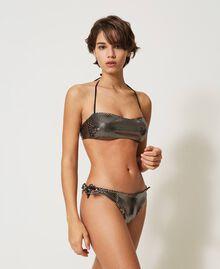 Bandeau bikini top with laminated polka dots Black / Gold Polka Dot Print Woman 211LMM111-01