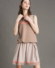 """Shorts in popeline con inserti in rete Grigio """"Grey Dust"""" Donna 191LL23SS-02"""