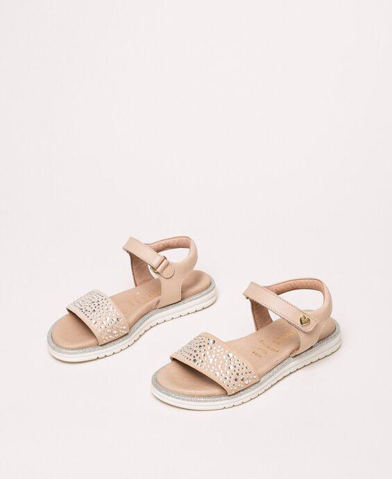 Sandales en cuir avec strass