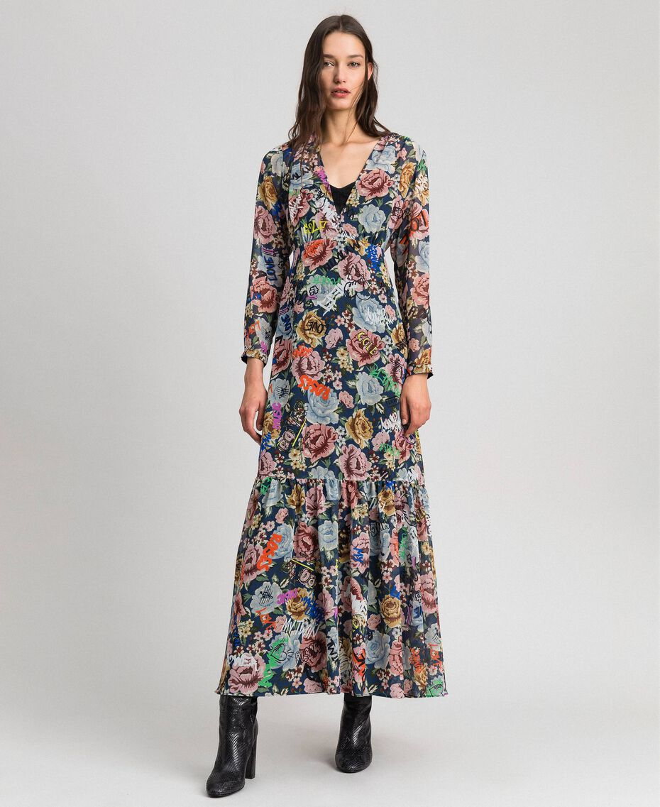 Long dress with floral and graffiti print Blue Flower Graffiti Print Woman 192MP2221-06