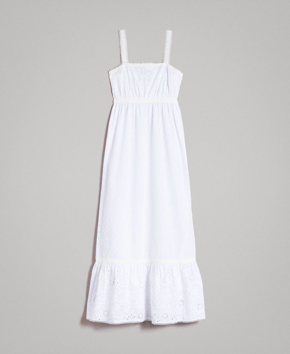 Broderie anglaise long dress with flounce White Woman 191MT2033-0S
