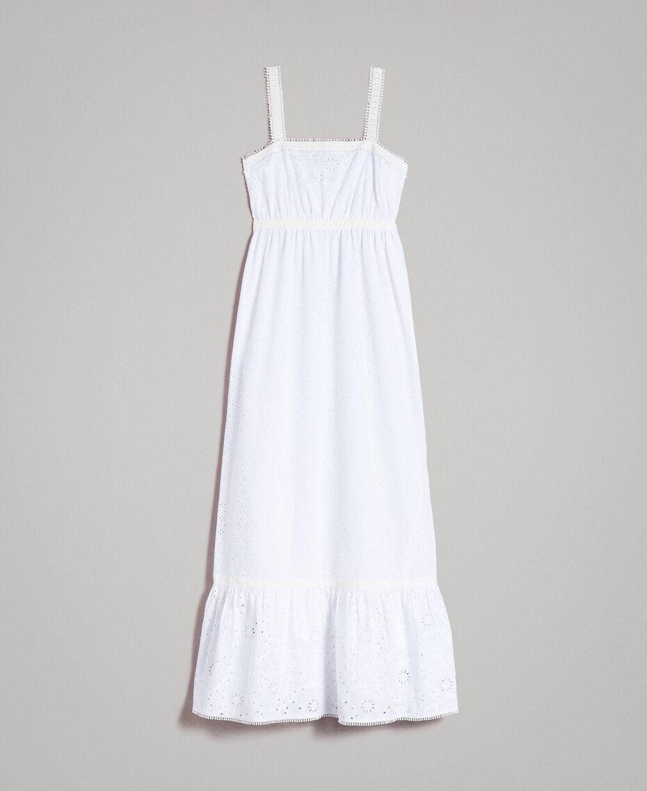 Broderie-Anglaise-Maxikleid mit Volant Weiß Frau 191MT2033-0S