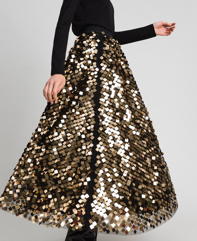 Midi skirt with sequins on tulle Sequin Embroidery Woman 192ST2213-04