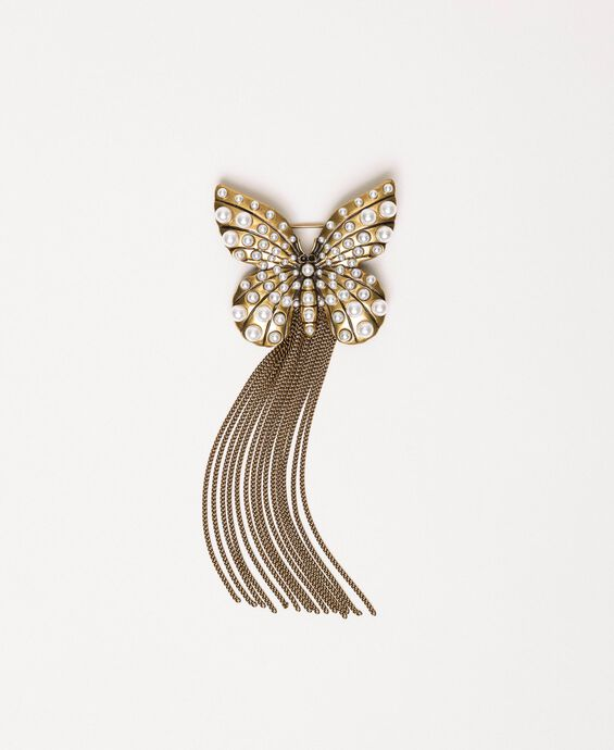 Brooch with butterfly and fringe