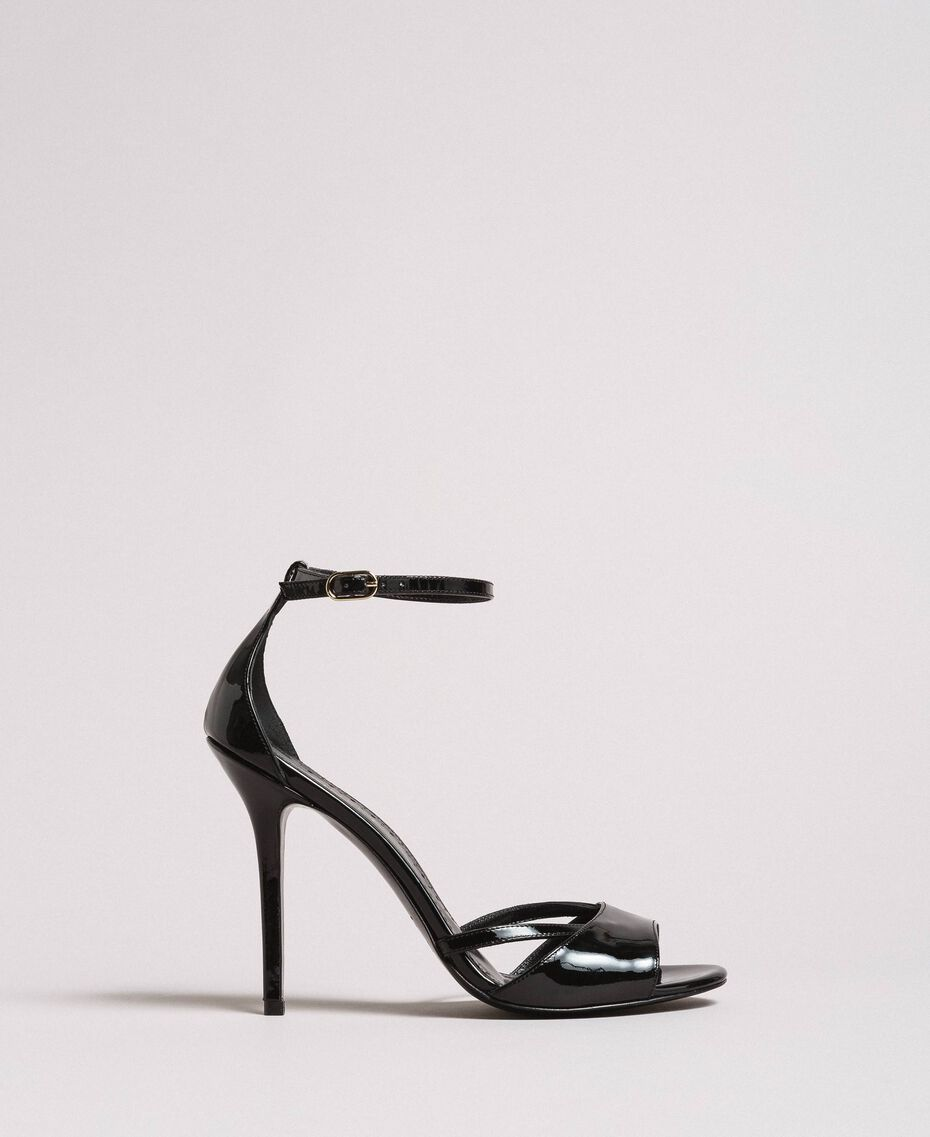 Leather sandals with strap Black Woman 191TCP10U-01