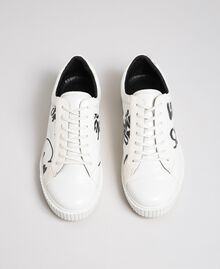 Sneakers aus bedrucktem Lederimitat Graffitiprint Optical Frau 192MCP07A-03