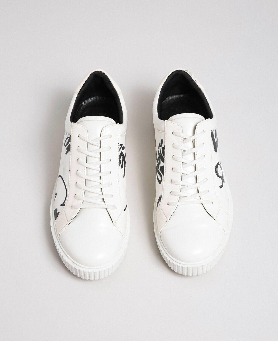 Sneakers aus bedrucktem Leder Graffitiprint Optical Frau 192MCP07A-03
