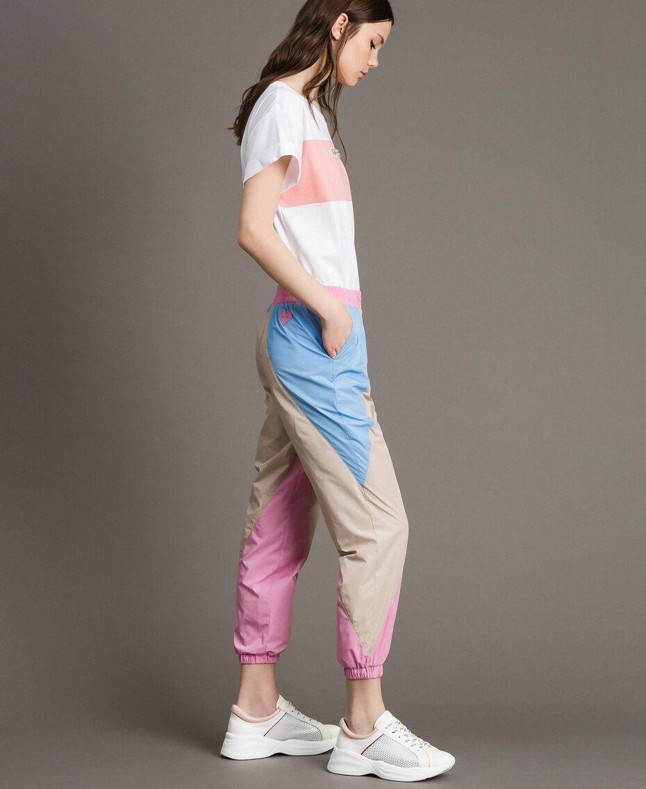 Pantaloni jogging in nylon color block Porcellana Beige Donna 191MP2093-02