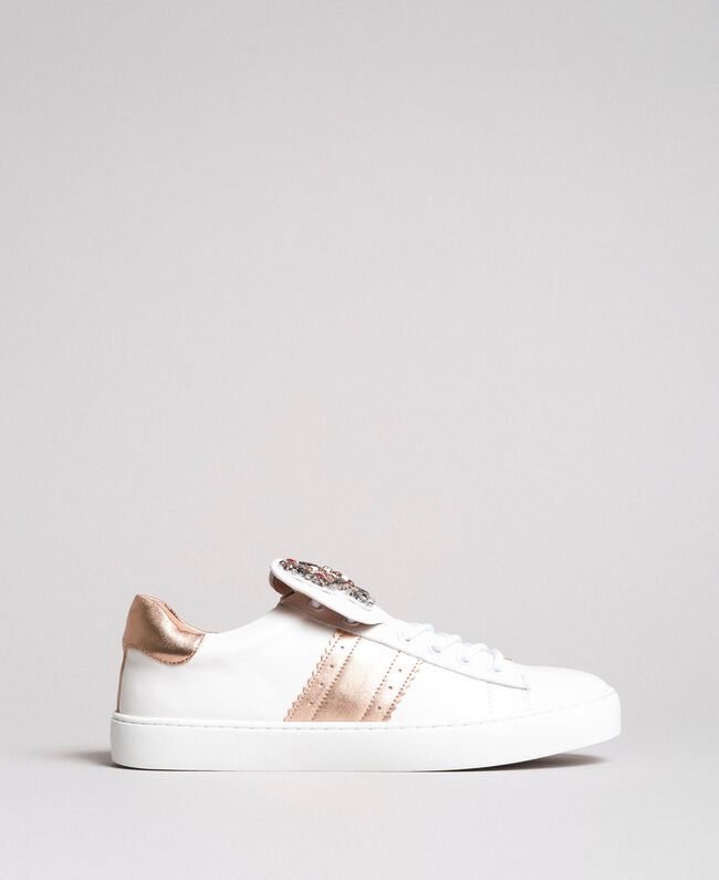 Leather sneakers with butterfly patches White Woman 191TCP10J-04