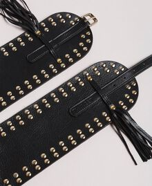 Leather studded belt Black Woman 191TA4301-01