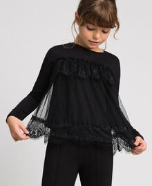 T-shirt with lace and tulle flounces Black Child 192GJ2320-01