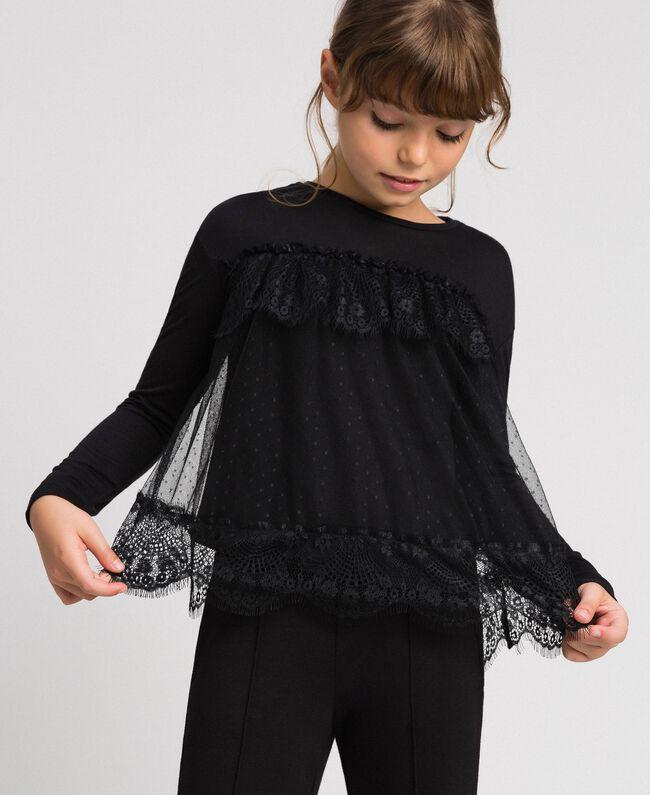 T-shirt avec volants en dentelle et tulle Noir Enfant 192GJ2320-01